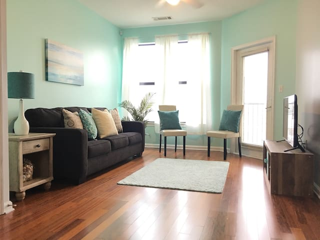 Beautiful spacious living area, with a queen size sleeper sofa.
