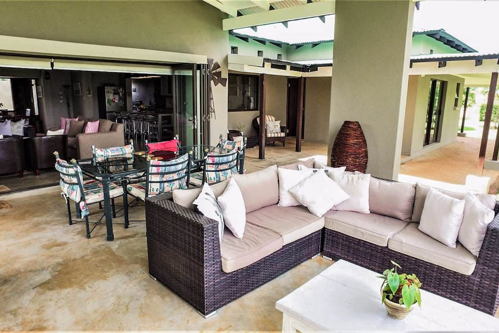 Open patio overlooks entire property with 2 small dams