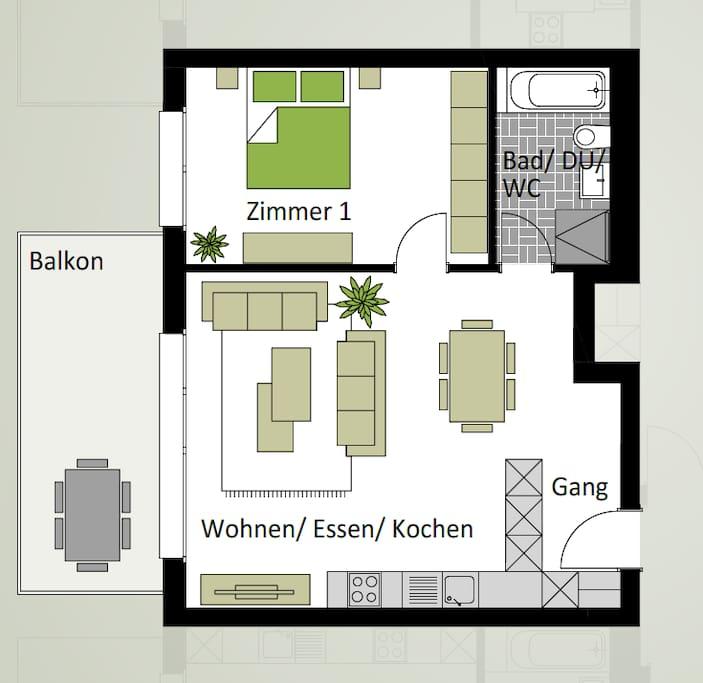 Der Plan der Wohnung dient Ihnen zur Vorstellung des Objektes.