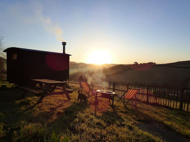 Shepherd's Hut - beautiful views, private bathroom
