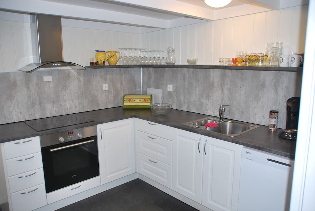 Brand new, spacious kitchen with cooker, fridge, freezer and dish washer.