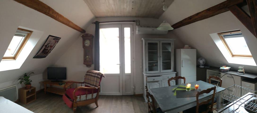 Salon, cuisine aménagée