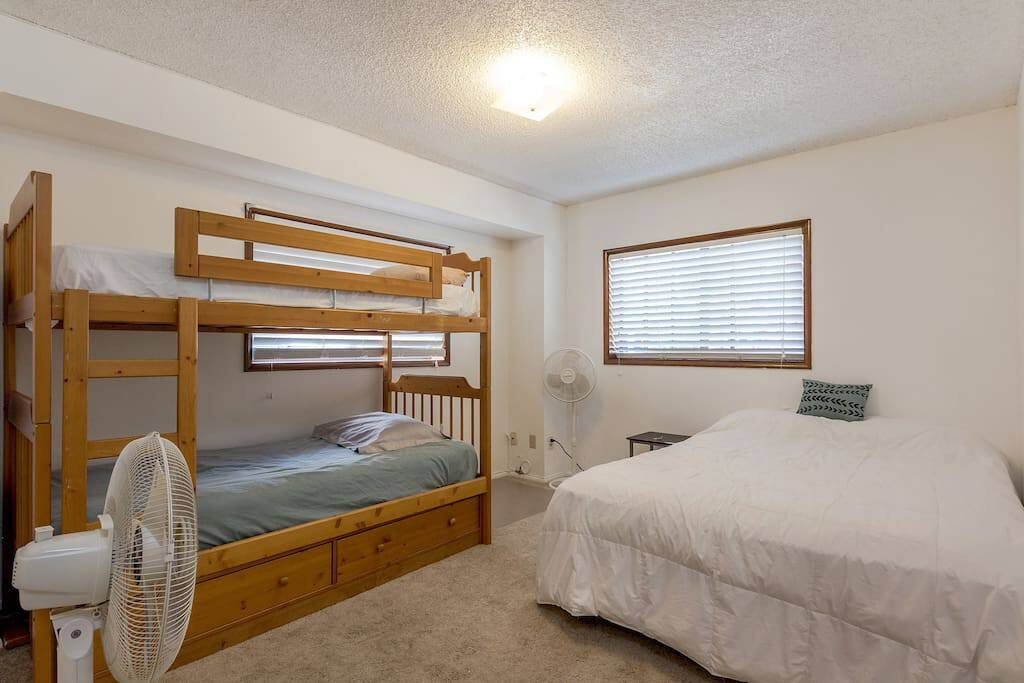 Comfortably sleep up to 4 with a Queen bed and bunk bed