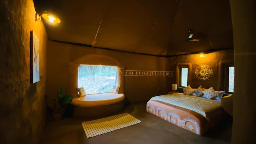 Bedroom. All the furniture's and the wall are made out of mud taking you back in time.