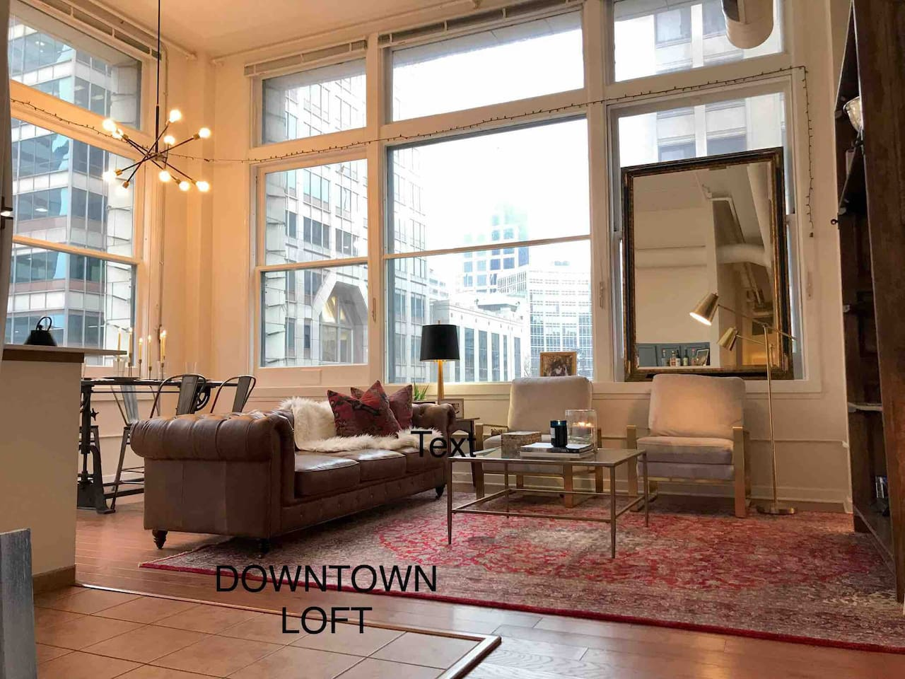 Open layout. Spacious, comfortable, and elegant living area with panoramic views of central downtown.