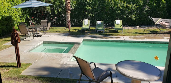 PRIVATE ENTRANCE FROM  PATIO+PRIVATE BATH+POOL
