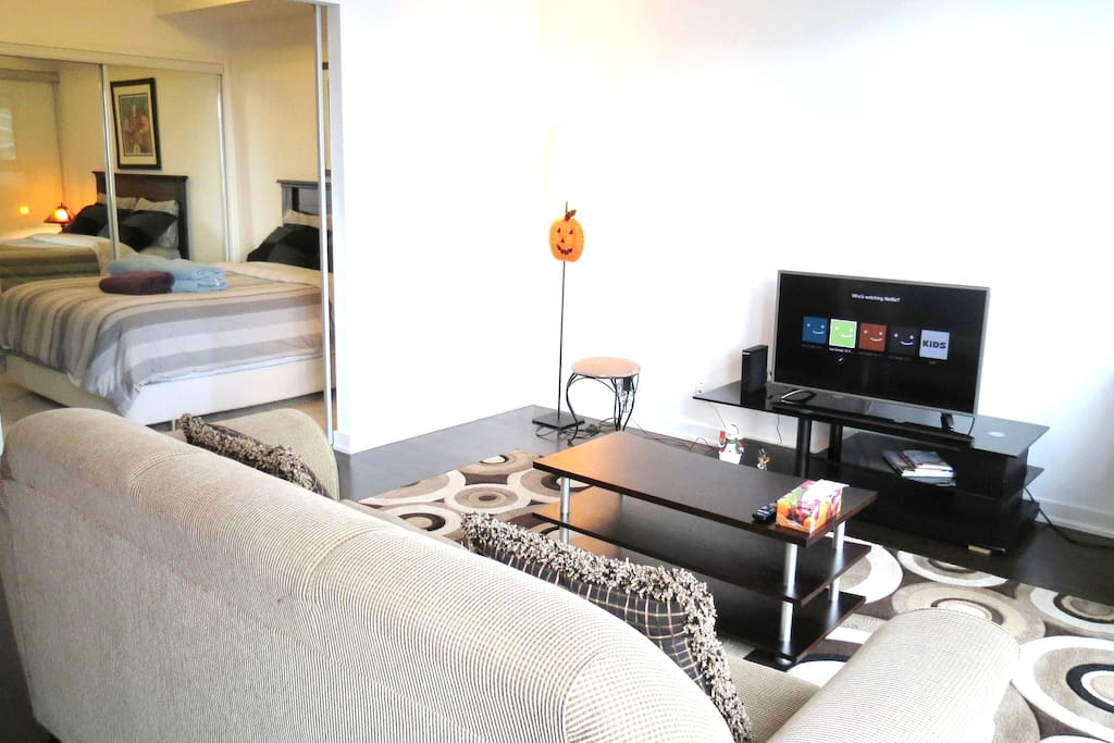 Spacious open concept & the only bigger 1+1 Bedroom on ICE 2. U wouldn't feel how big it's till u stay in a studio unit