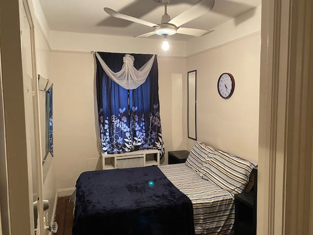 Room comes with A/C, ceiling fan, Entertainment system. Storage closet.