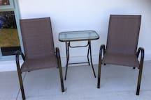 Outdoor table and chairs to enjoy on a beautiful Canterbury day.