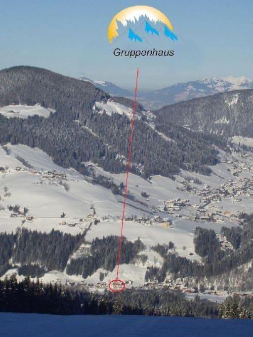 Panoramaansicht vom Skigebiet Skijuwel Wildschönau