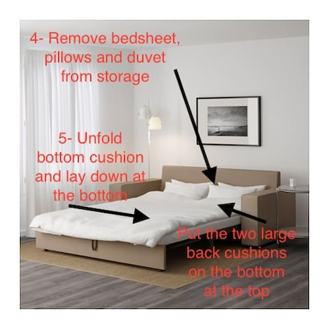 There are two double sofa beds in the living room. This one is a bit more complicated to open and close. Directions end here.