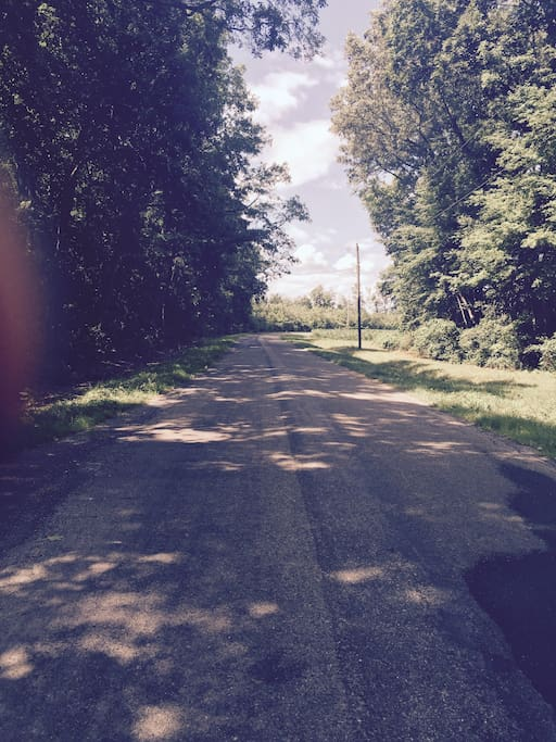 Open roads- perfect for walking, biking and jogging