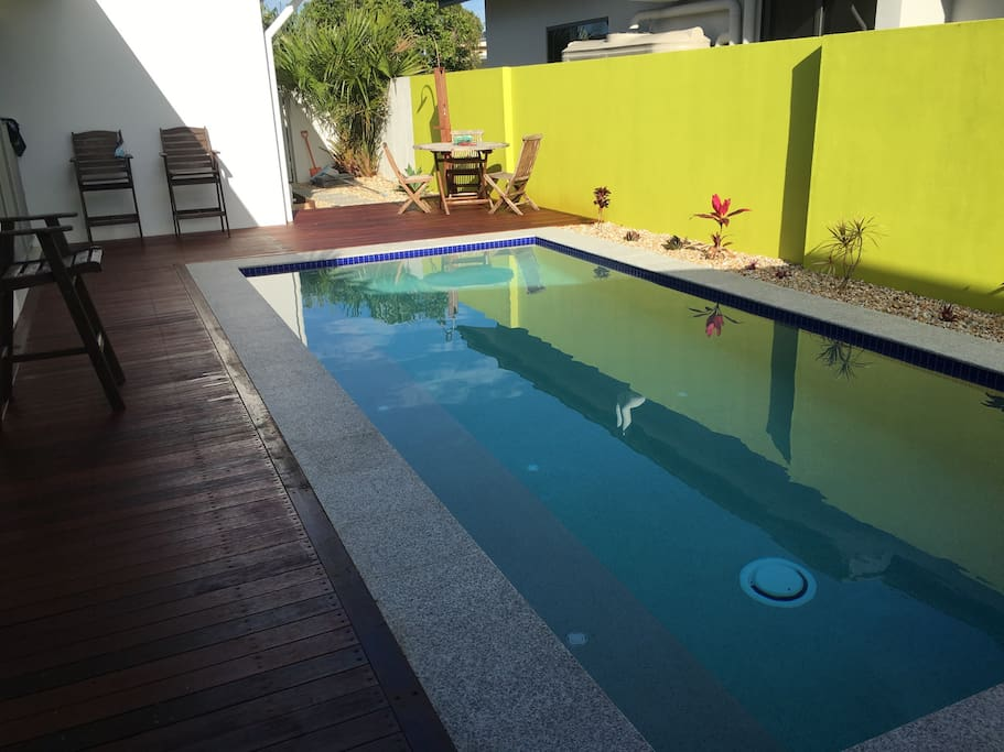 Brand new salt water pool and deck. Great for yoga too!
