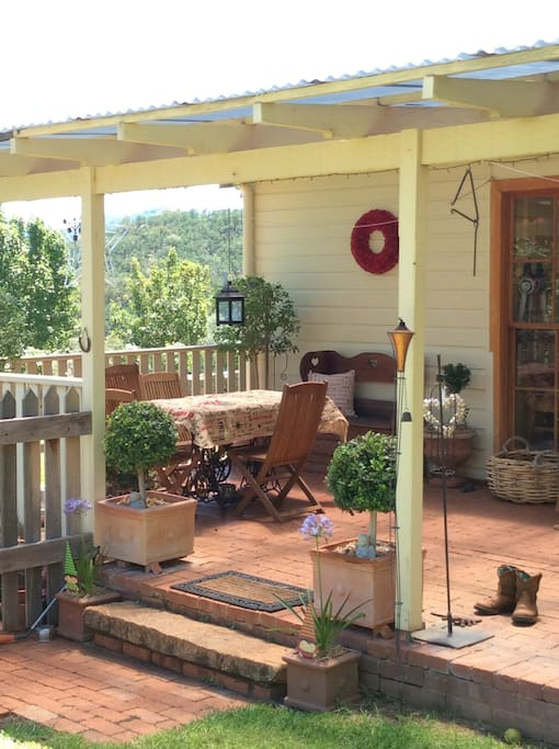 Back veranda overlooking views of the valley
