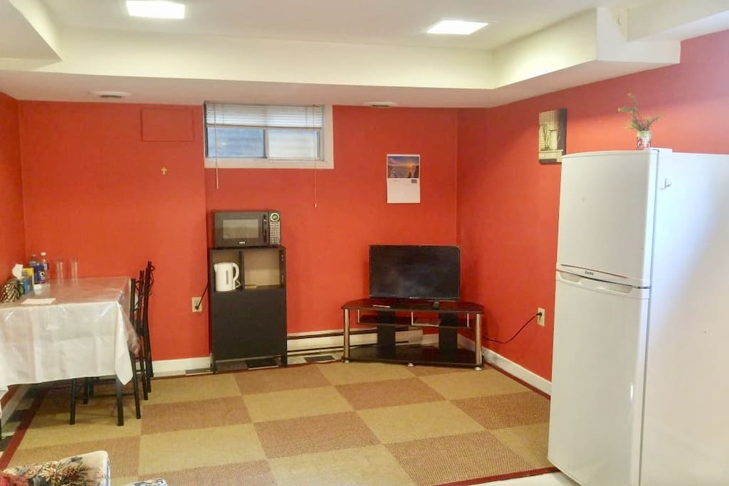 Spacious basement 1 BR with Love seat, Dining Table, Refrigerator, Microwave, TV, Toaster. Complimentary Tea/Coffee.