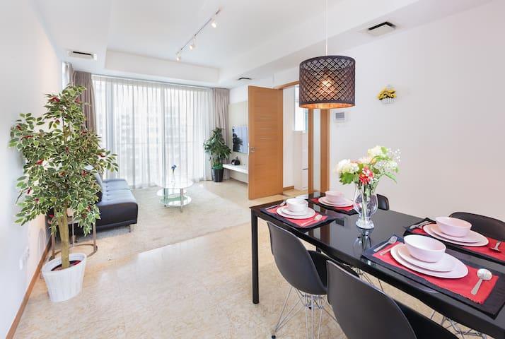 Charming & Cozy 2BR near Sentosa/MRT/圣淘沙旁高档2室1厅公寓