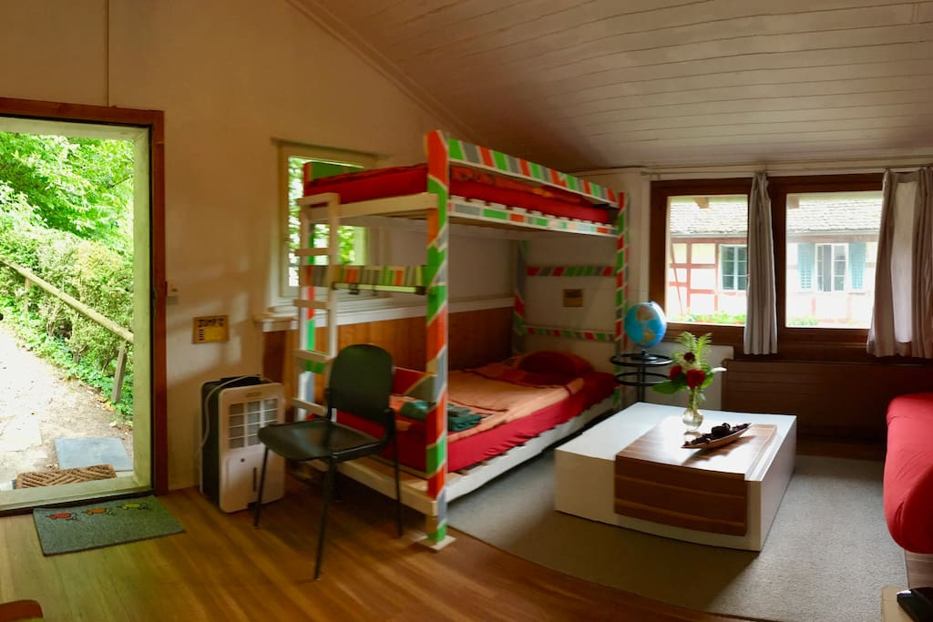 Living room with sofa and bunk bed