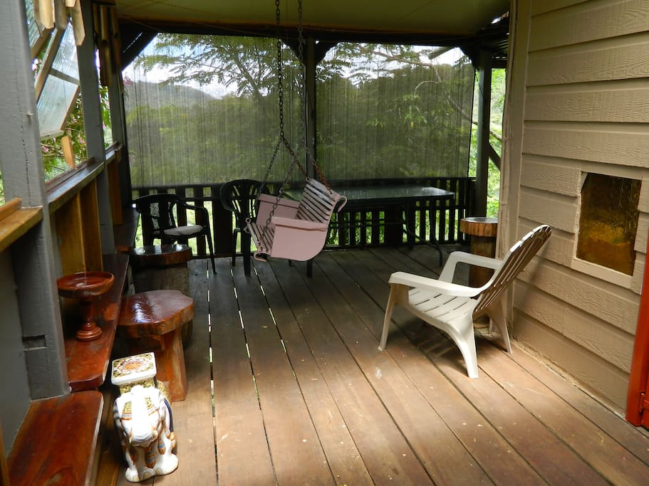 You have a private veranda with forest views and it's a great space to enjoy a quiet moment with a glass of wine or just to sit and enjoy.