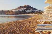 Lindos' main beach is just 5' away!