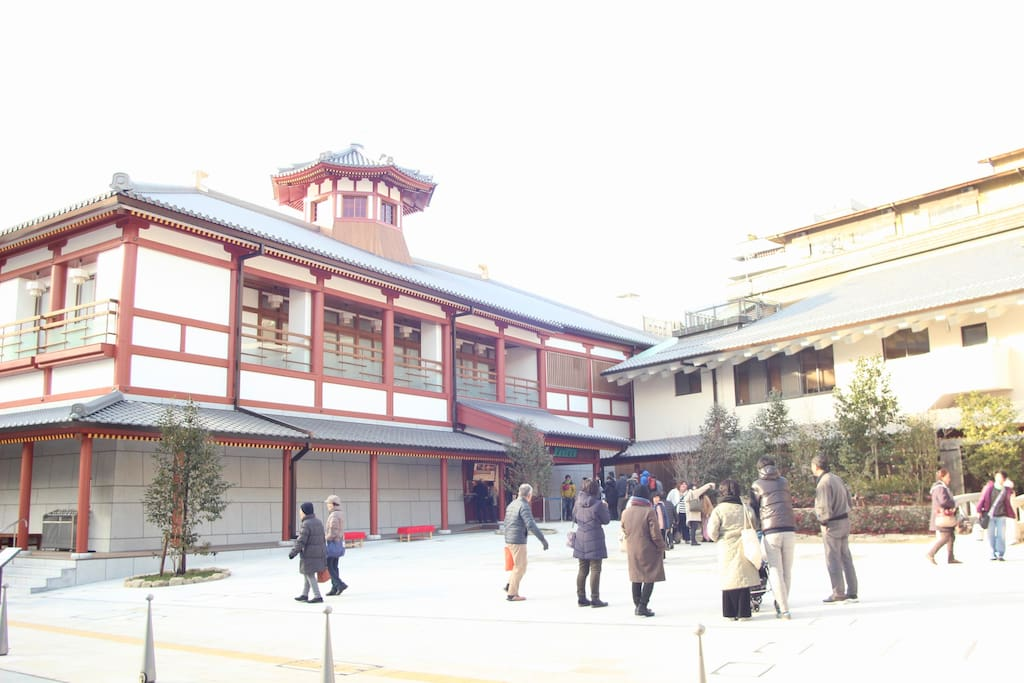 "新しい温泉「飛鳥の湯」まで徒歩2分 12/26に中庭も完成! 2 minutes on foot to the new hot spring ""Asuka no yu"" The courtyard is completed on 12/26!"