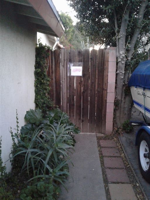 A gate on the North Side of the house welcomes you in...