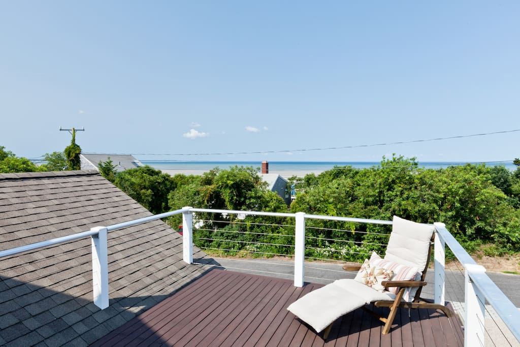 Enjoy water views of Cape Cod Bay from the sunny deck.
