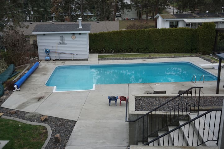 Large pool and deck for summer fun