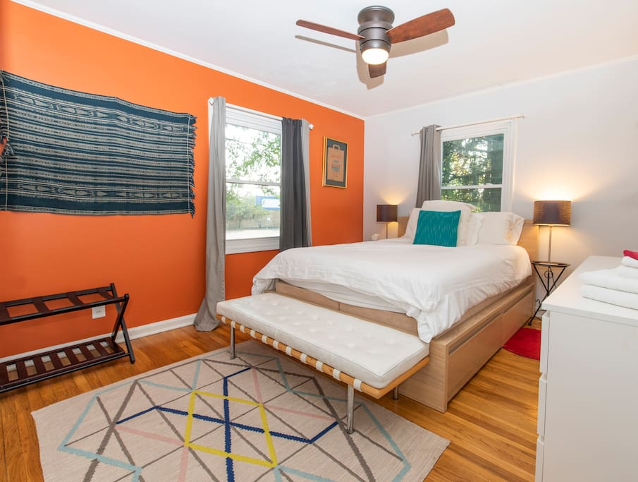 This is a gorgeous and relaxing room.The mattress is a favorite for all of my guests. There is plenty of room to spread out and feel at home. I have light out curtains to keep the room nice and dark while you are sleeping.