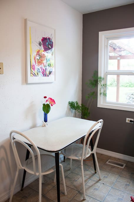 The shared kitchen area, often with fresh flowers in the summertime.