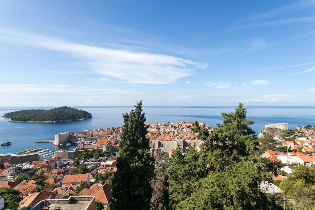 View on Old Town and island Lokrum.