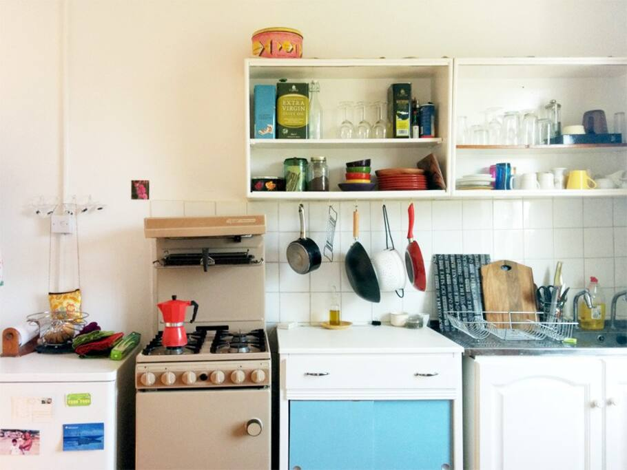 Kitchen has all utensils. Oven, fridge (no freezer or dishwasher though!)