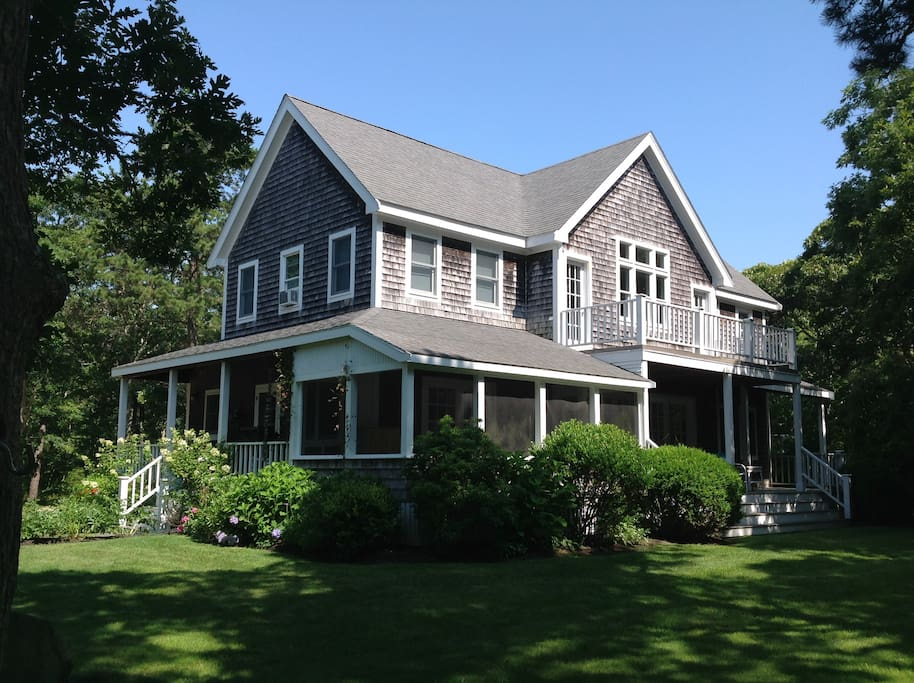 Main house has 28 foot ceilings and  52 windows. There are 3 porches that you can enjoy. Guest house photos follow….
