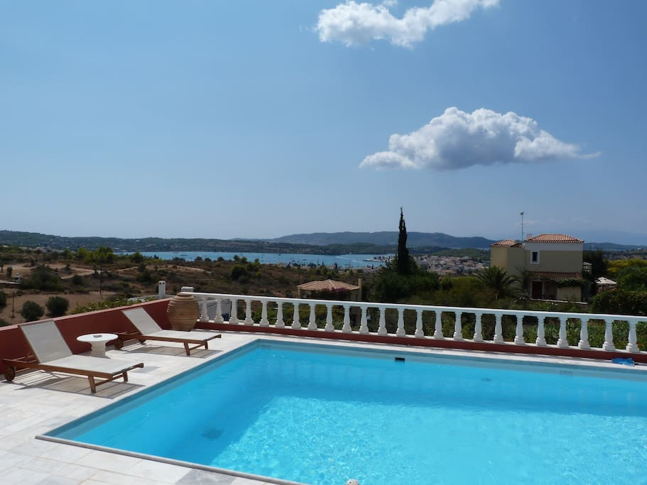 180 degrees front view: the poll, Porto Heli town and Spetses Island