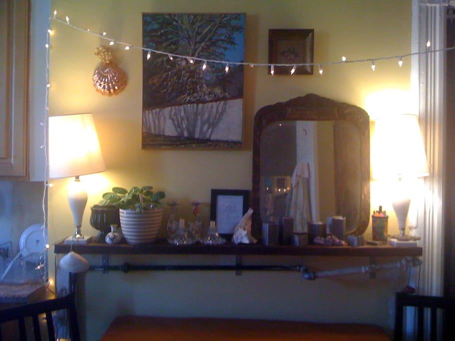Cozy kitchen with original historic details...