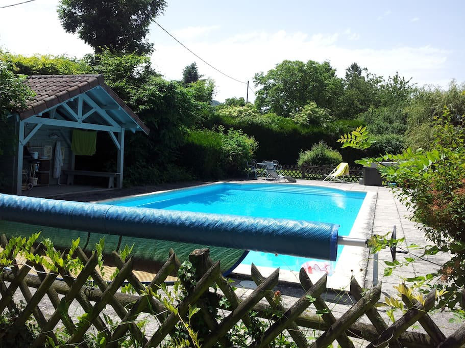 Grande piscine avec escalier roman