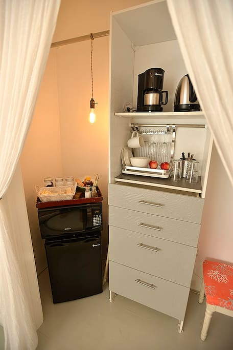 Closet with 1/2 size Refrigerator, Microwave,  Coffee-Maker