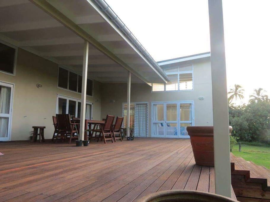Large deck partially covered, great for large functions or simple family dinner outside under the stars.
