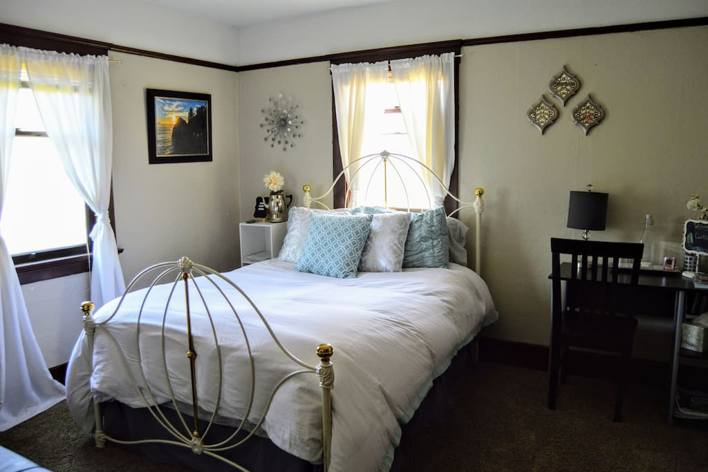 """updated pic of newly """"refreshed"""" decor, including a down comforter,plush duvet,  and small space heater to stay extra warm on cold nights."""