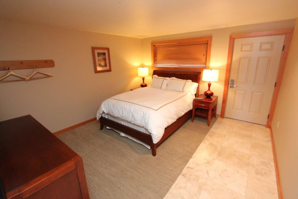 comfortable bed with flat screen TV/DVD