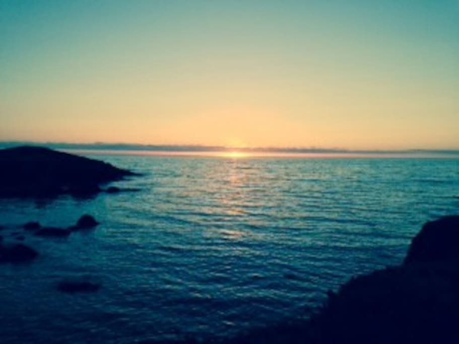 From this point You can watch the sunset, whales, birds, the Pacific Ocean from the log bench.