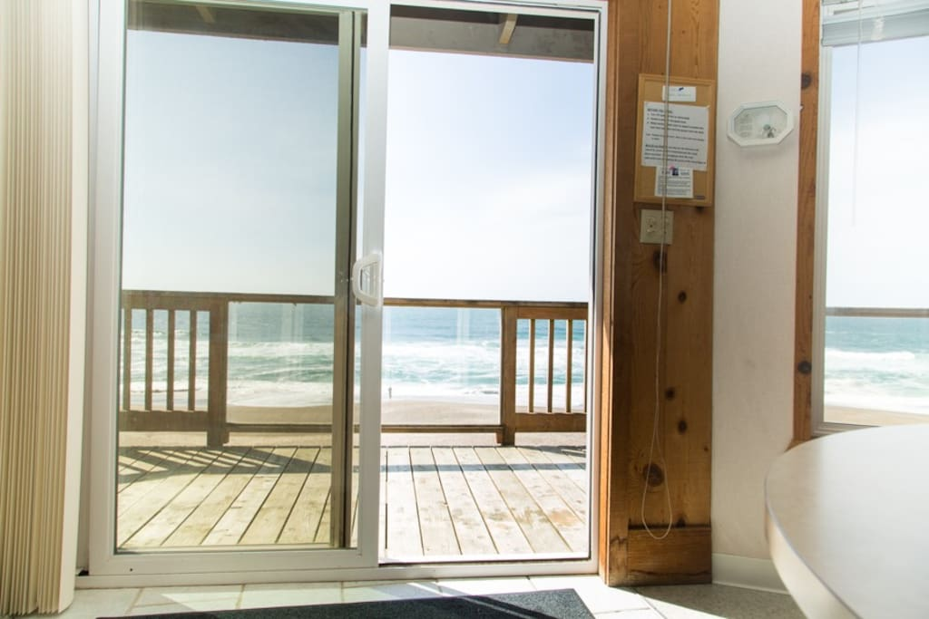 Enjoy the crashing waves from the inside or out on the panoramic deck.