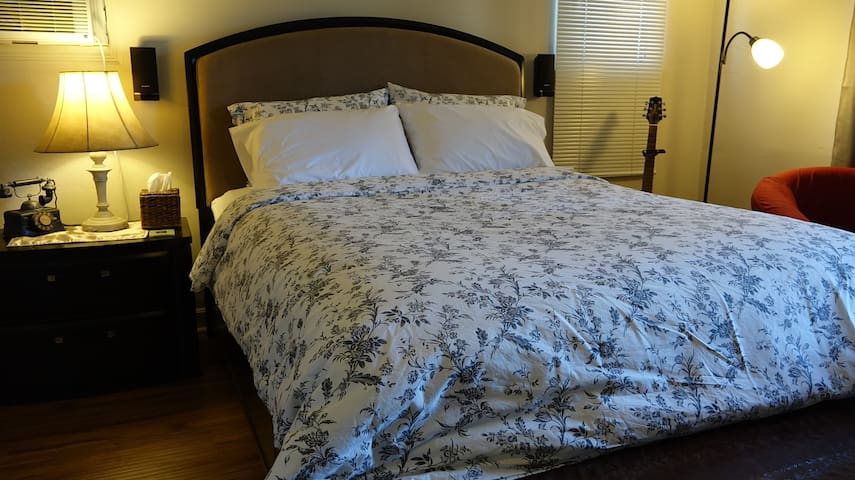 A very inviting and clean pillow top queen-sized mattress to help make your stay as comfortable as possible.