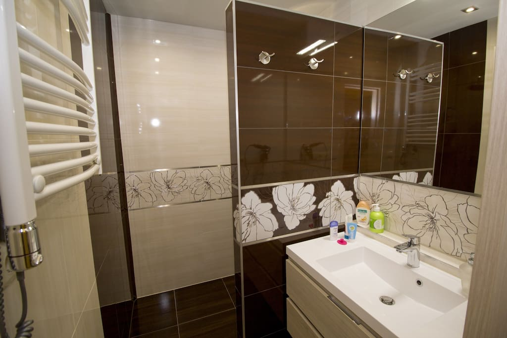 Bathroom with thermostatic shower, hair dryer and towel dryer
