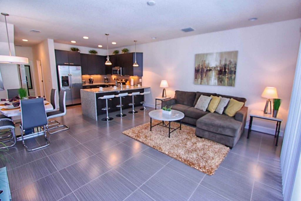 Open Floor Plan - Living Area w/Pool Access, Dining Area & Kitchen - View #2