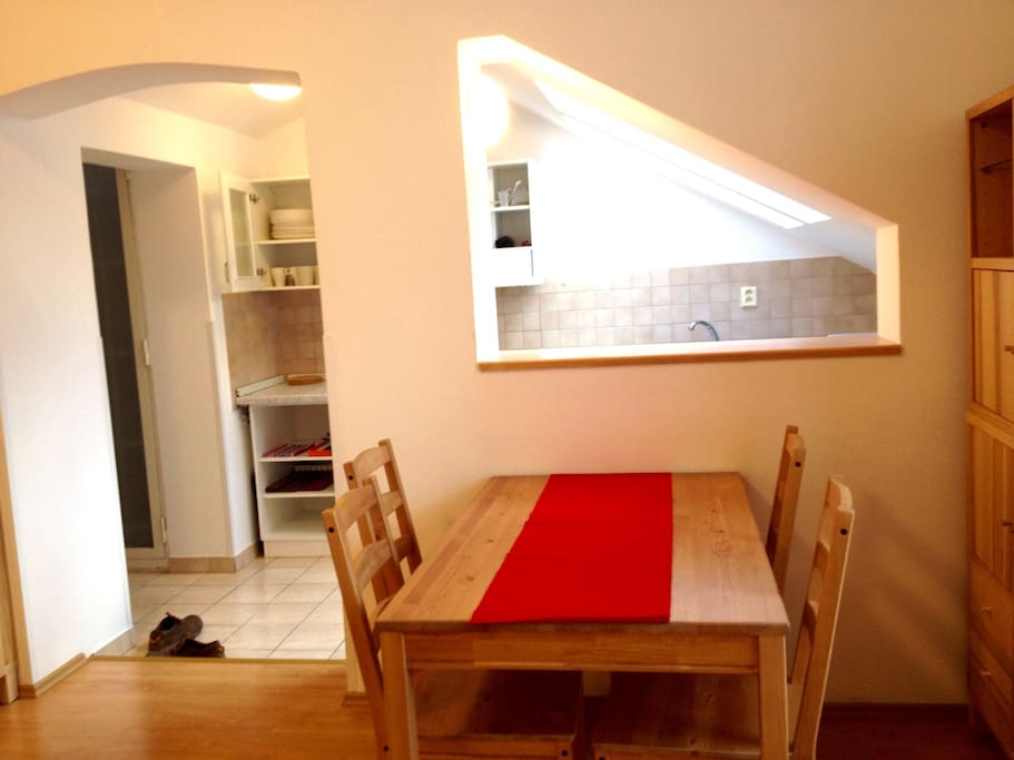 Fully equipped kitchen in cozy penthouse apartment just few minutes from every Old Prague attractions. The flat is ideal for weekend trips and also for long term exploring of Prague and Czech Republic.