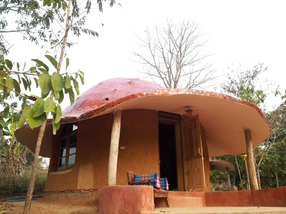 Individual roundhouse has a bedroom, bathroom and private terrace.