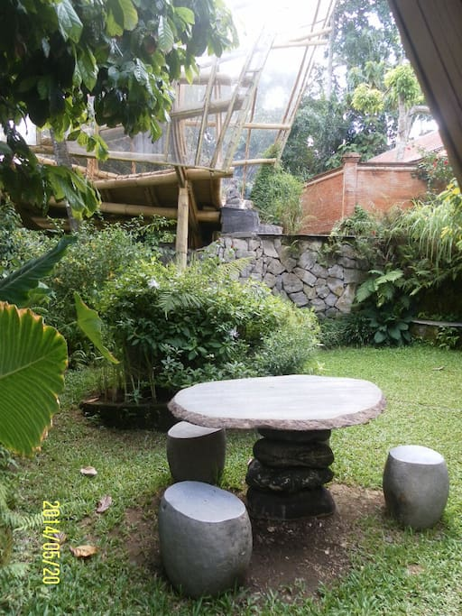 Stone table in the garden