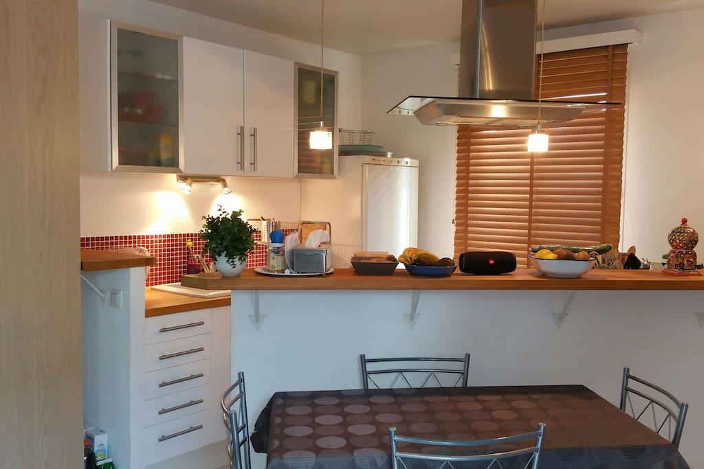 Cuisine ouverte sur le salon,  équipée : lave-vaisselle et four electrique programmables, plaque vitro-céramique, micro-onde, réfrigérateur-congélateur, cafetière, grille-pain.