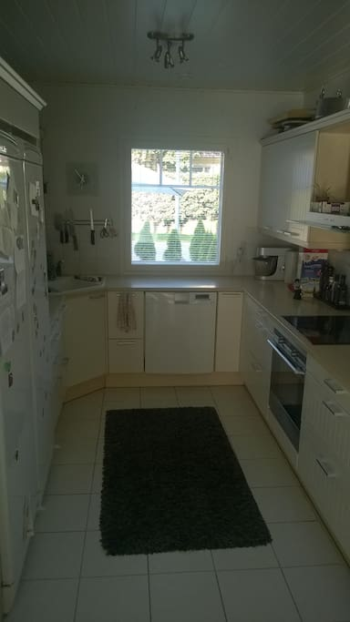 Kitchen equipped with coffee maker, Nespresso machine, microwave oven, stove, etc.