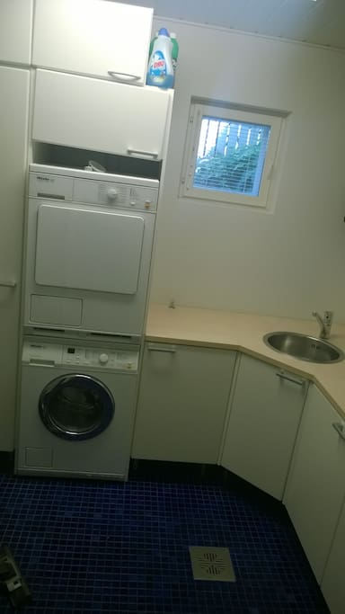 Washing machine and drier - detergents available.